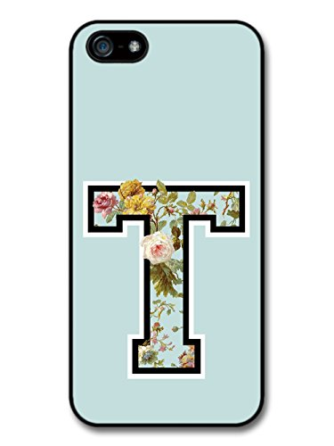 Letter T Customized Name See Through Cool Hipster Style Flowers Background coque pour iPhone 5 5S