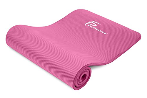 ProSource Premium 1/2 Inch Extra Thick 71 Inch Long High Density Exercise Yoga Mat with Comfort Foam and Carrying Straps, Pink, Frustration Free Packaging