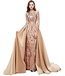 Style N Long Sequin Mermaid Dress With Long Sleeves