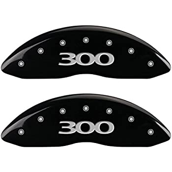Set of 4 300 Engraved Front and Rear Caliper Cover with Black Powder Coat Finish and Silver Characters, MGP Caliper Covers 32020S300BK