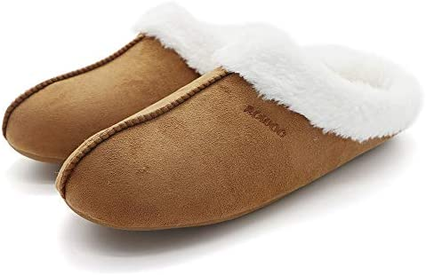 Mens Memory Foam Slippers Lightweight Fuzzy Plush Slip on Indoor Home Shoes