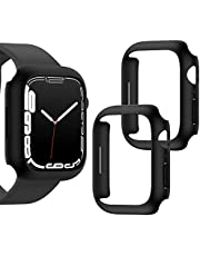 [2 Pack] Goton Case Compatible for Apple Watch Series 7, PC Hard Cover Protective Bumper Watch Case Accessories for iwatch Women Men (Black+Black, 45mm)