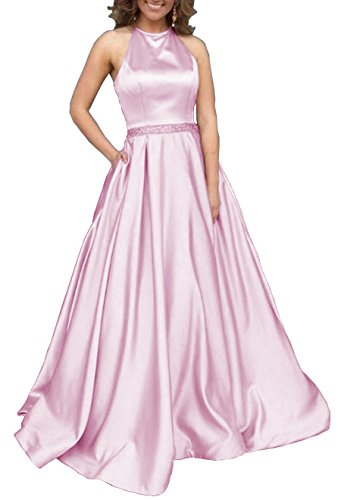 Women's Halter A-Line Beaded Satin Formal Party Gown Long Evening Prom Dress With Pockets Size 16 Pink