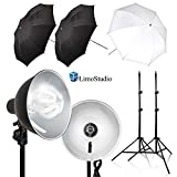 LimoStudio 2-Pack Reflector Dish Metal Lamp with Continuous Lighting Bulb and Umbrella Reflector, Lamp Socket and Umbrella Reflector Holding Slot, Light Stand Tripod, Photo Studio, AGG2604V2