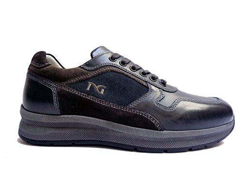 Nero Giardini 5250 scarpe casual da uomo in pelle/camoscio col. Blu/Asfalto, num. 43