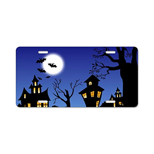 LOVEUIO Halloween Town Polished Aluminium Oxide License Plate Frame Mirror Finish 4 Holes ()