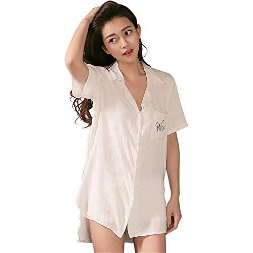 Dormir Pijama Fashionista Cómodo Con Larga Manga De Las Camisón Otoño Señoras Cuello Suelta 1 V White Chemise En Ropa x7PwgxZq