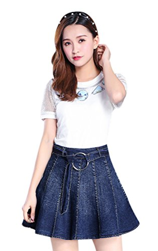 Seacolor Women's A-Line Short Casual Denim Skirt Korea Style Mini Jeans