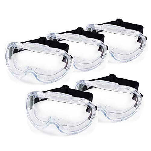 Safety Goggles 5 pack, Protective Chemical Splash Safety Glasses with Anti-Fog Cystal Clear and high Impact Resistance Design, Perfect Eye Protection for Lab, Chemical, and Workplace Safety - Mosoki.