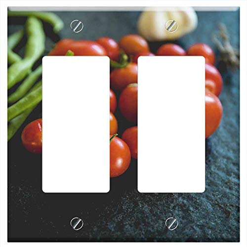 Switch Plate Double Rocker/GFCI - Tomatoes Vegetables Datailaufnahme Food Garden Red
