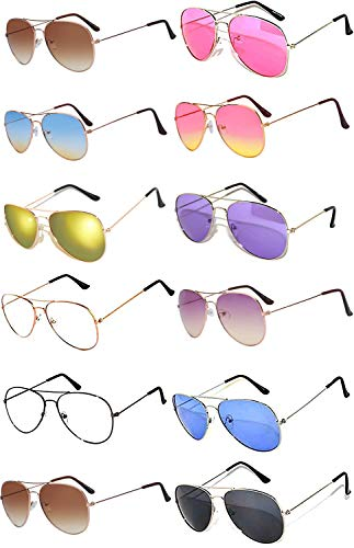 12 Pack Aviator Eyeglasses Metal Gold, Silver, Black Frame Colored Mirror Lens OWL. (Aviator_Mix_Colored_Ls_12pairs, Colored)]()
