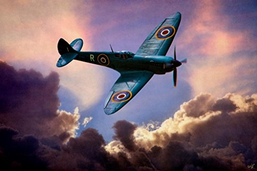 Spitfire Clouds by Chris Lord Photo Art Print Poster 24x36 inch