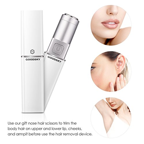 Facial Hair Removal for Women,caferria Hair Remover Lipstick Design Epilator for Women with 1 Nose Hair Scissors,Touch Face Electric Shaver on Upper Lip Chin Cheeks (White) by Caferria (Image #3)
