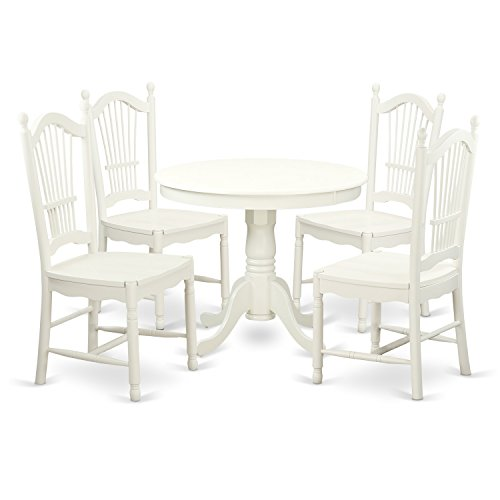 East West Furniture ANDO5-LWH-W 5Piece Set with One Round 36in Small Table & Four Dinette Chairs with Wood Seats., Linen White