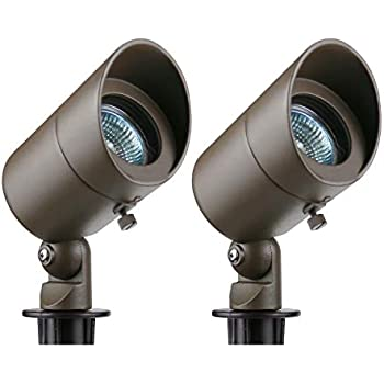 Lumina Low Voltage Landscape Lighting Waterproof Outdoor Spotlights for Walls Trees Flags Adjustable Knuckle Aluminum Housing With Warm White 20W Halogen Bulb and Ground Stake Bronze SFL0101-BZ2 (2PK)
