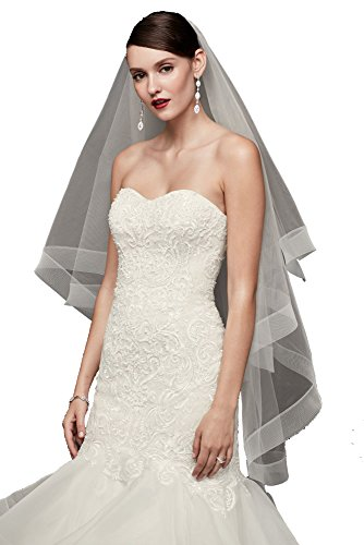 Passat Two-Tier 43 Long 2 Drop Veil   Elegant Simple Veil   Chapel Veil Blusher   Trimmed Wedding Veil DB130