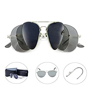 Sunglasses for Men and Women with Aviator Polarized Mirrored Lens Mental Frame Oversize UV Protection-Lomiss