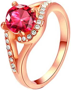 Ladies Rings for Wedding with 7mm 1.25 Carat Round Crystal Ruby Cocktail Ring