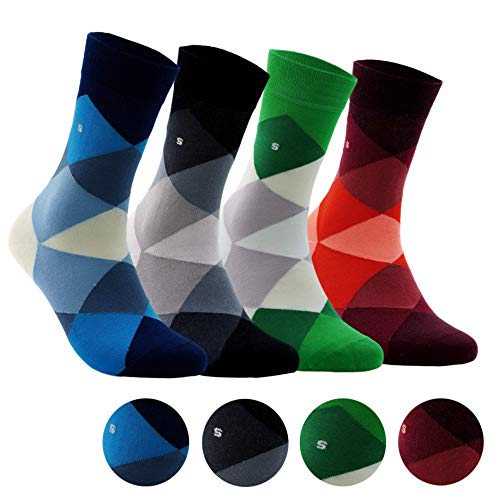Men's Bamboo 4 Pair Socks - Soft Touch, Scented, Seamless, Antibacterial Organic Bamboo Fiber (Large Argyle)
