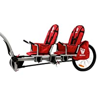 Weehoo Kids' Igo Two Trailer Tagalong Bike for Ages 4-9, red, Medium
