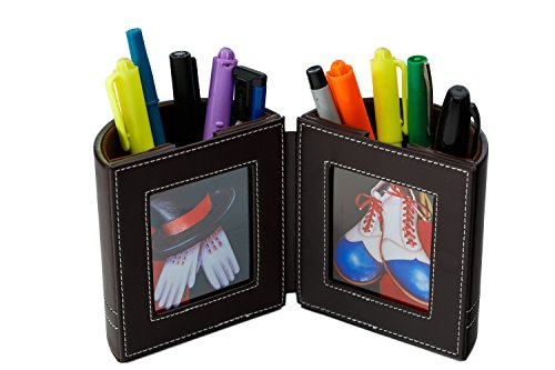 Desk Organizer , Pen and Pencil Holder with Picture Frame By Pensali - Office Supplies Space Saver - Made of Premium Suede Base Faux Leather Strong Magnetic Clasp Attractive Design - Brown