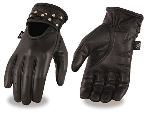 Motorcycle womens Blk Leather Driving Gloves with Gel palm & Studs Unlined New(2XL) (Gloves Women Road Mens Off)