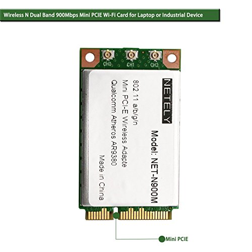 NETELY Wireless N 900Mbps (2.4GHz 450Mbps and 5GHz 450Mbps) 3T/3R 3-Stream MINO Full Size Mini PCI Express(PCI-E) Card for Laptop or Industrial Device-Qualcomm Atheros AR9380