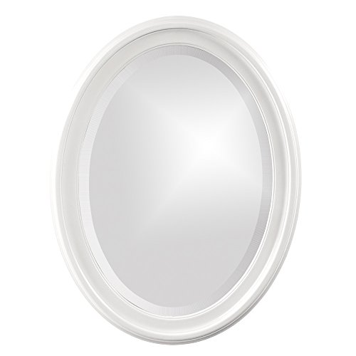 Howard Elliott George Oval Wood Framed Wall Vanity Mirror, Glossy White, -