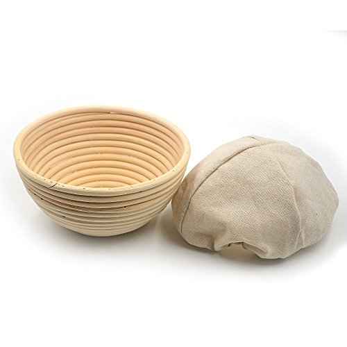 Banneton Bread Dough Proofing Basket Set [8 inch] with Free Linen Liner, A Lightweight, Round Shape, Basket from Bake It - Enhance Your Bake Now! (Round Bake Liners)