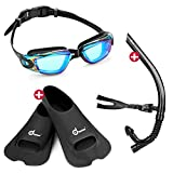 Odoland Swimming Goggles with Swim Snorkel and Swim Fins, 3-in-1 Swimmer Training Diving Snorkel Set for Adult and Youth