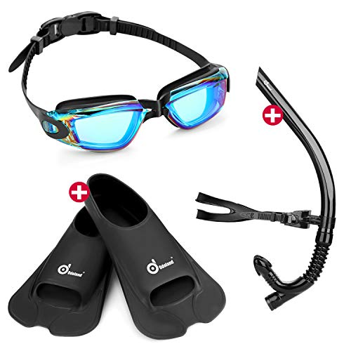 gles with Swim Snorkel and Swim Fins, 3-in-1 Swimmer Training Diving Snorkel Set for Adult and Youth ()