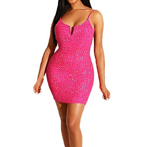 (QingFan Women's Fashion Sexy V-Neck Solid Sleeveless Shining Sheath Sequin Night Club Mini Sling Dress (M, Pink))