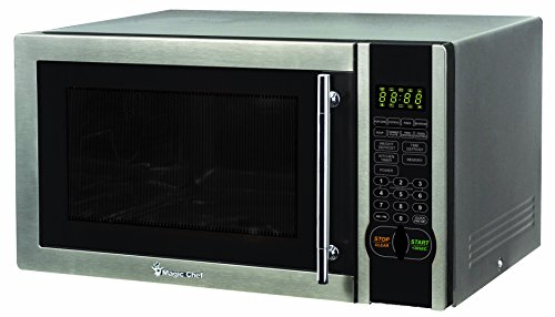 (Magic Chef MCM1110ST 1.1 Cu. Ft. 1000W Countertop Microwave Oven with Stylish Door Handle, Black)