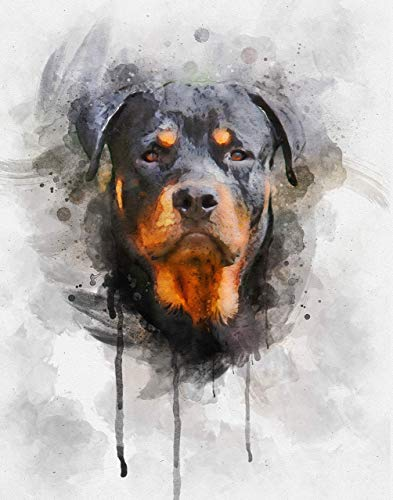 Rottweiler Dog Watercolor Art Print in Various Sizes - Rottweiler Decor for a Nursery, Home or Office - A Perfect Gift for a Rottie Mom or Rottie Lover ()