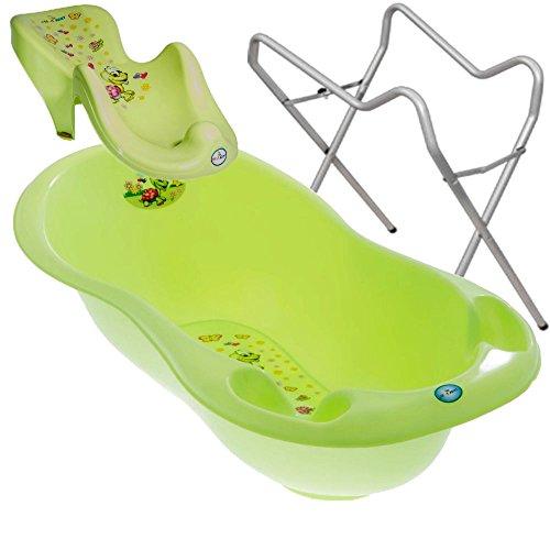 BABY BADESET Babybadewanne + Badesitz + Ständer (Grün)