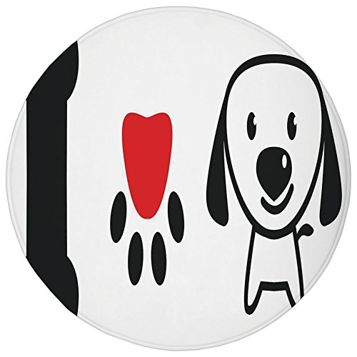 Round Rug Mat Carpet,Dog Lover Decor,I Love Dog Message Showing Bone Pup Paw with Love Symbol and Cute Doggy Sweet Message,,Flannel Microfiber Non-slip Soft Absorbent,for Kitchen Floor Bathroom (Pups Towel)