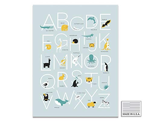 Animal Alphabet Kids Wall Art Poster | ABC Chart Nursery Wall Decor | Woodland Letters Room Print | Gender Neutral Educational Classroom Poster | 6 Variants (2 Sizes, 3 Colors)