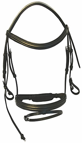 Padded Raised Bridle (Henri de Rivel Padded Raised Dressage Bridle with Jawband Crank and Flash with Web Reins Black Cob)