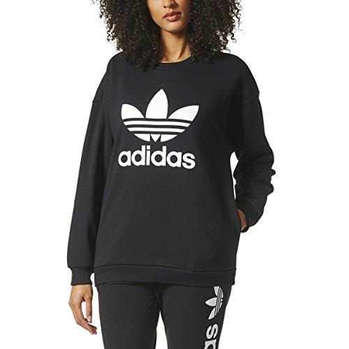 Adidas Crew Neck Sweatshirt (adidas Originals Women's Outerwear | Trefoil Sweatshirt, Black, Medium)