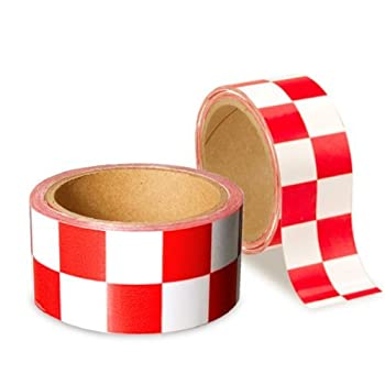 Low Vision Checkerboard Tape Red and White 2 In Wide