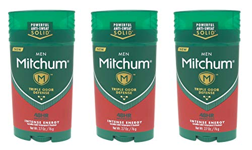 Mitchum Antiperspirant & Deodorant For Men, Invisible Solid, Intense Energy, 2.7 oz (Pack of 3)