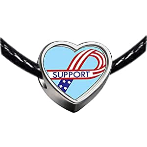 Chicforest Silver Plated Support American Ribbon Photo Heart Charm Beads Fits Pandora Charm Bracelet