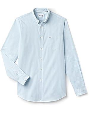 Lacoste Men's Men's Light Blue Striped Shirt in Size 44-XL Light Blue