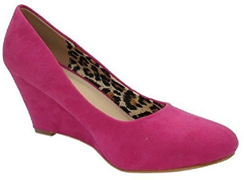 Bella Marie Womens Nine-5 Classic Almond Toe Mid Wedge Pump Slip On Shoes-Fuchsia-10