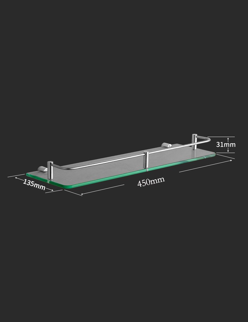 Tama/ño : 20cm Baldas de ba/ño Estante de cristal del acero inoxidable Cuarto de ba/ño del hardware Cuarto de ba/ño de una sola capa de maquillaje Plataforma de rack Garantizar la calidad