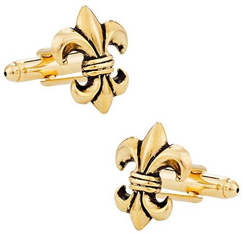 Cuff-Daddy Antiqued Gold Tone Fleur Di Lis New Orleans Mardi Gras Cufflinks with Presentation Box