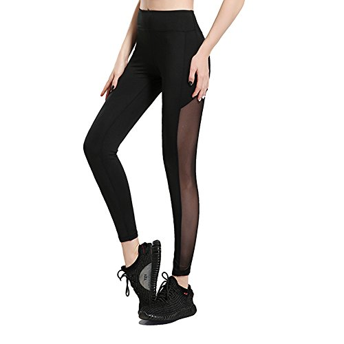 Yoga Pants, FEIVO Women's High Waist Mesh Stretchy Yoga Running Dancing Workout Sports Ankle Length Leggings Pants.