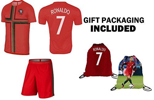 Fan Kitbag Cristiano Ronaldo Soccer Jersey 2018 World Cup #7 Portugal Home Youth Ronaldo Soccer Jersey & Shorts Kids Premium Gift Kit ✮ BONUS Ronaldo Backpac(Youth Medium 8-10 years, 2018)