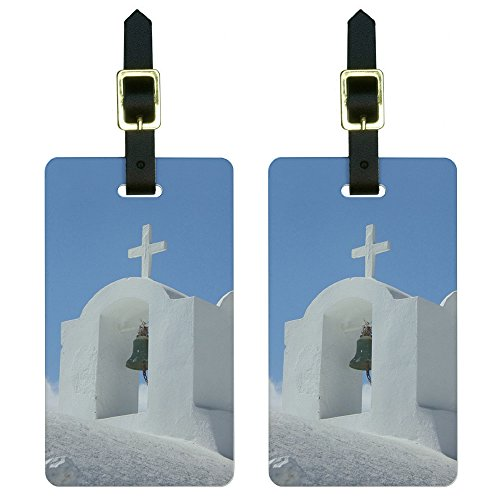 Graphics and More Santorini Greek Island Church - Greece Luggage Tags Suitcase ID Set of 2 ()