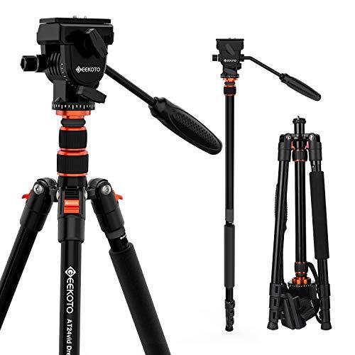 GEEKOTO 77 Inches Video Camera Tripod, Aluminum Tripod with 1/4